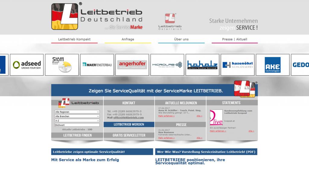 Typo3 Webseite für Leitbetrieb Österreich und Leitbetrieb Deutschland